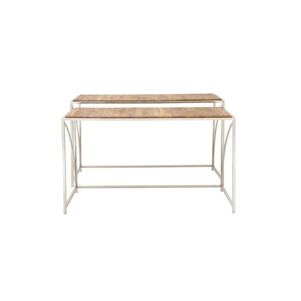 Litton Lane Oak Brown Slat Design Rectangular Console Tables With In Frame Console Tables (View 10 of 30)