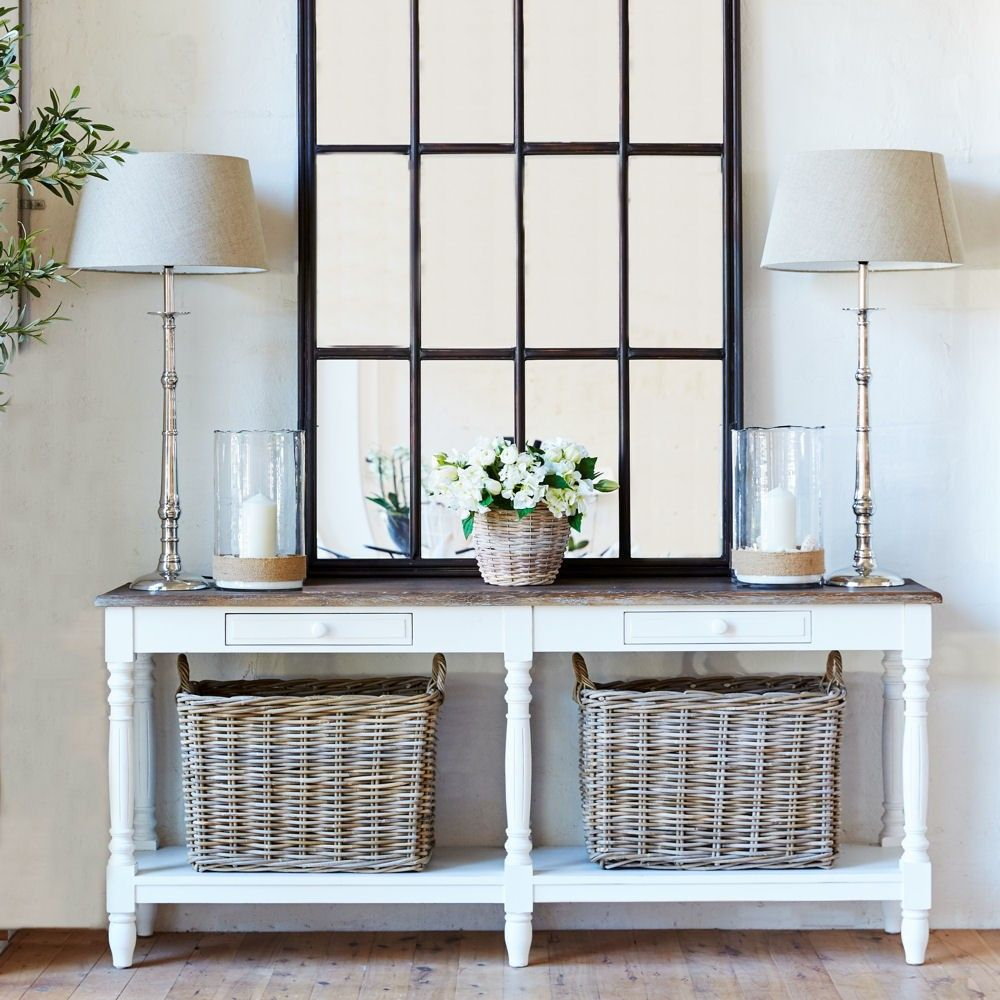 Louis Xv Riviera Console Table – Burnt Oak & White – Grey Timber Top With Burnt Oak Metal Sideboards (View 21 of 30)