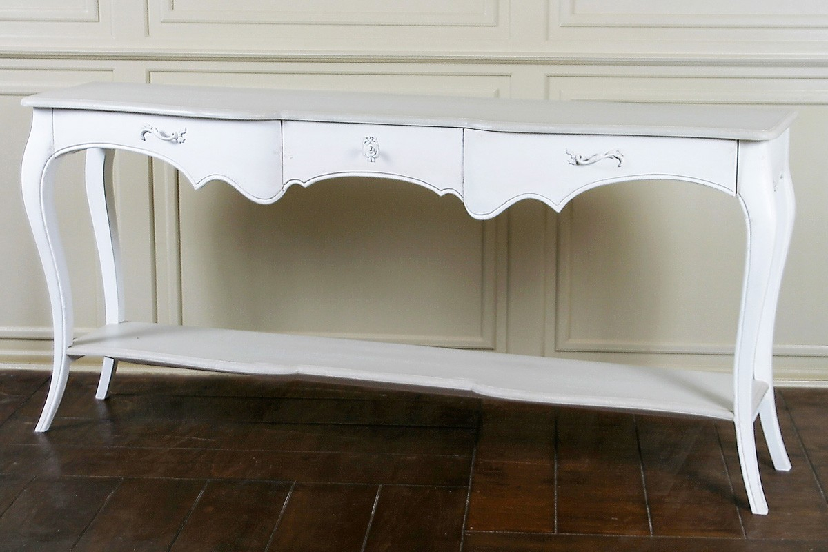Lyon French Carved Console / Hall Table | French Console Table Regarding Antique White Distressed Console Tables (View 20 of 30)