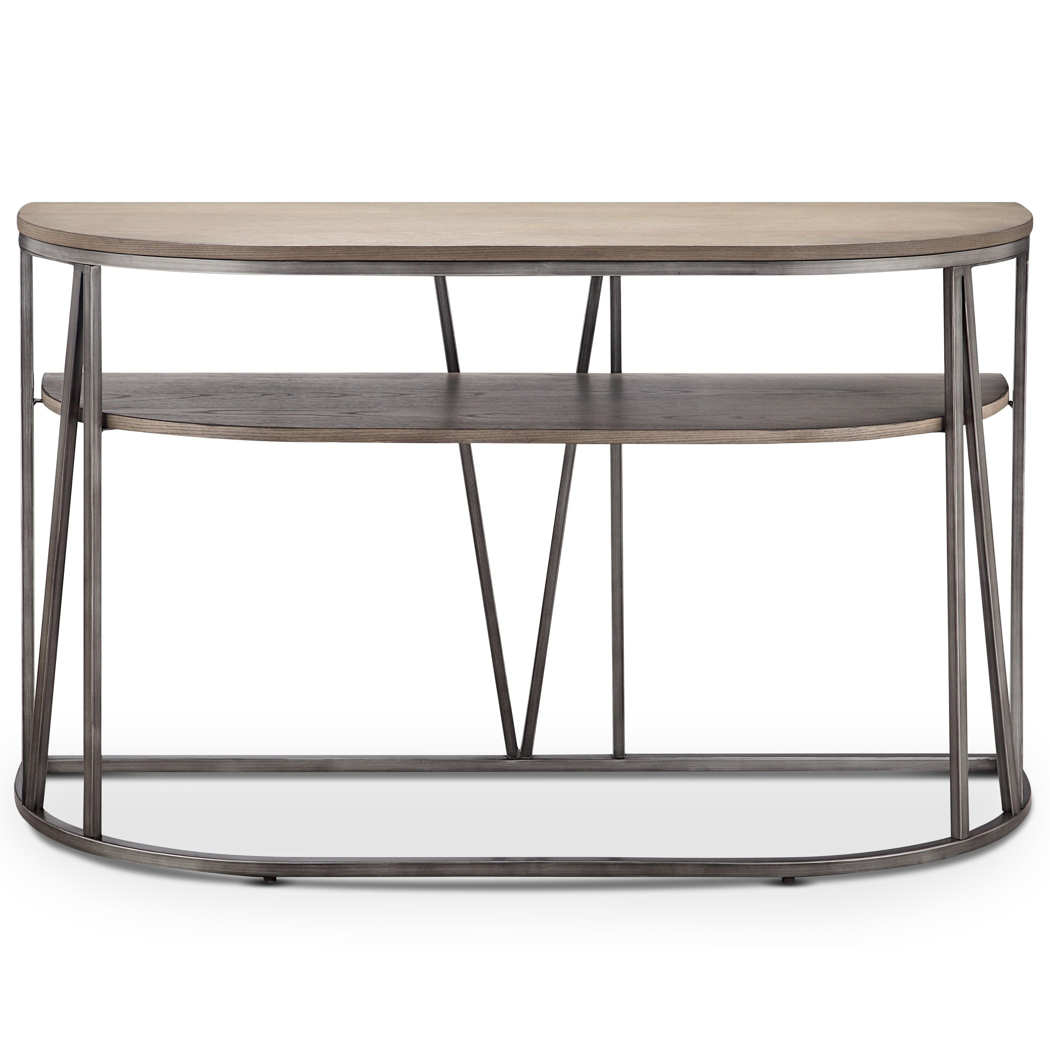 Magnussen Home Furnishings Avalon Modern Weathered White Oak with Yukon Grey Console Tables (Image 14 of 30)