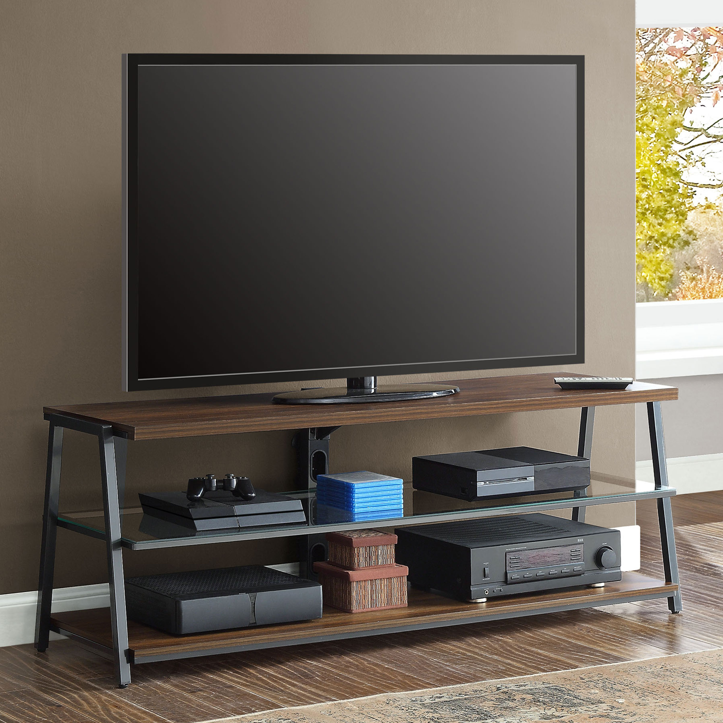 "Mainstays Arris Tv Stand For 70"" Flat Panel Tvs Up To 135 Lbs with Canyon 64 Inch Tv Stands (Image 16 of 30)"