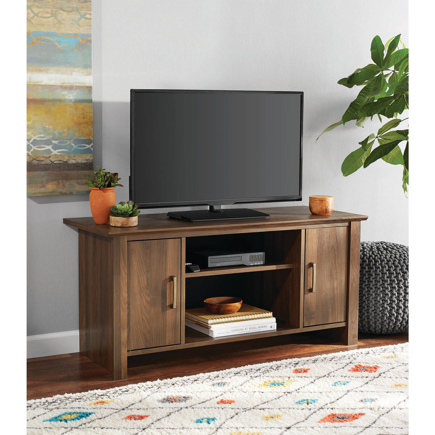 """Mainstays Tv Stand For Flat Screen Tvs Up To 47"""", Canyon Walnut Intended For Canyon 64 Inch Tv Stands (View 18 of 30)"""