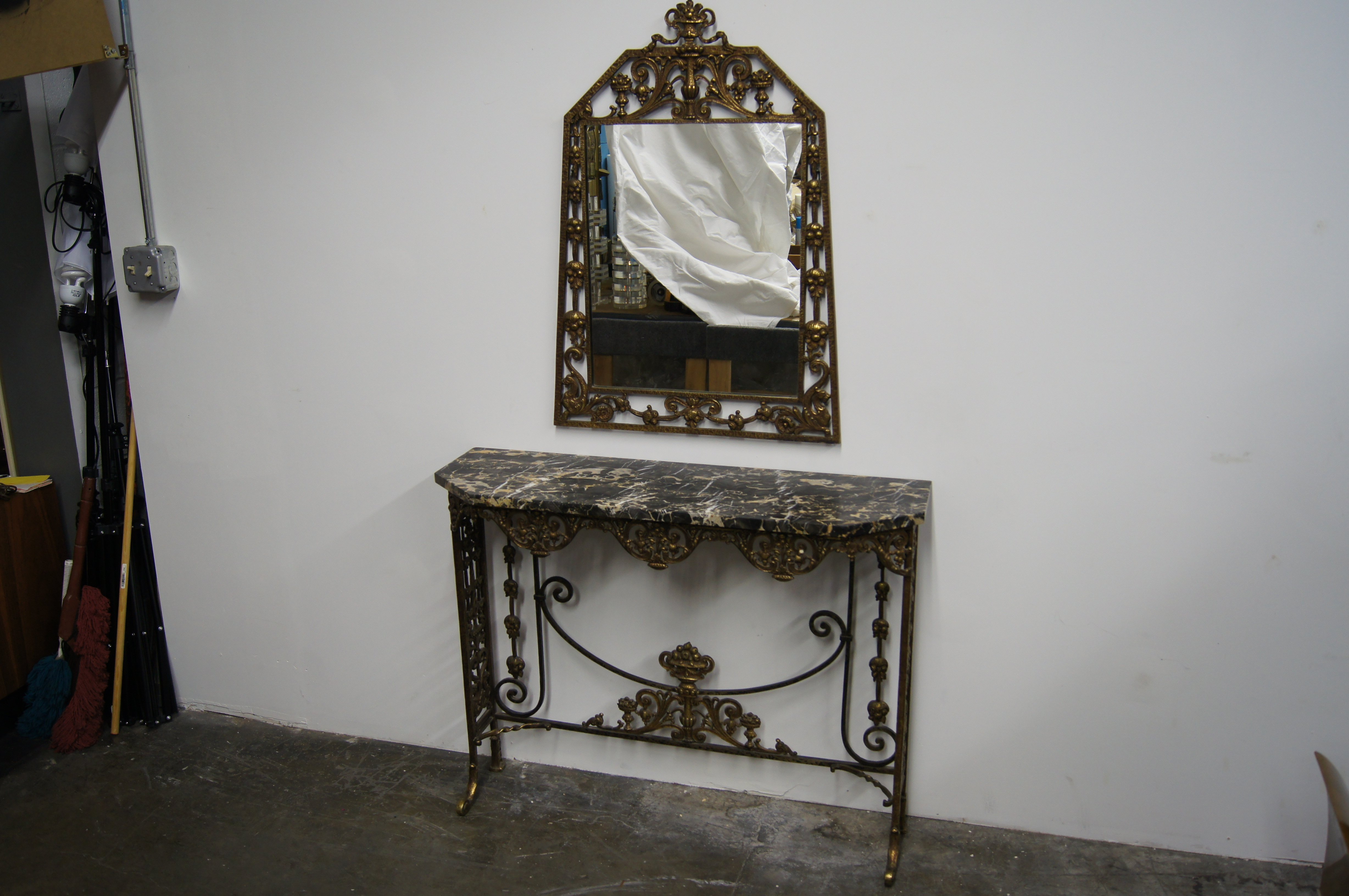 Marble And Bronzed Cast-Iron Console Table With Mirroroscar Bach in Oscar 60 Inch Console Tables (Image 17 of 30)