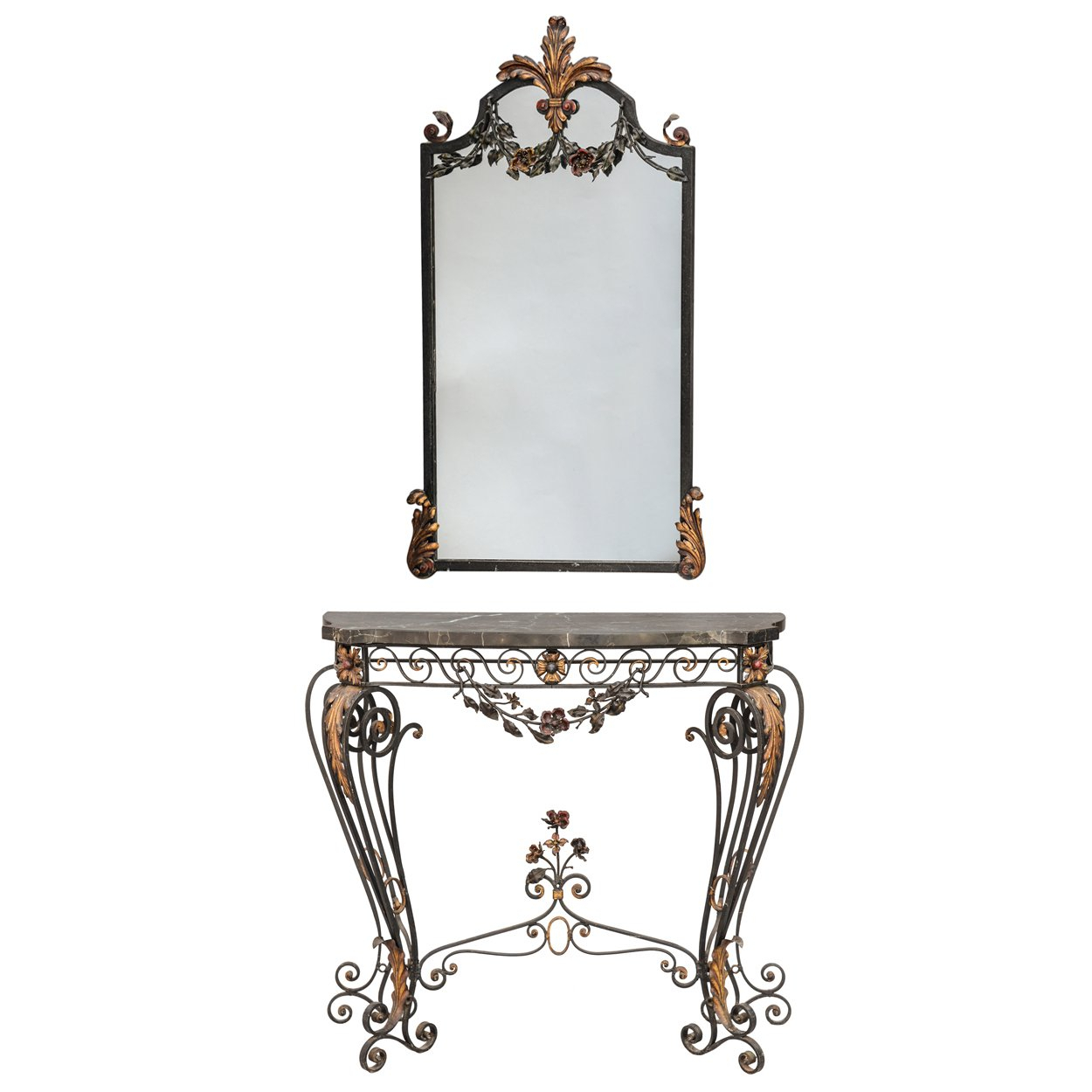 Marble And Bronzed Cast Iron Console Table With Mirroroscar Bach Intended For Oscar 60 Inch Console Tables (View 17 of 30)