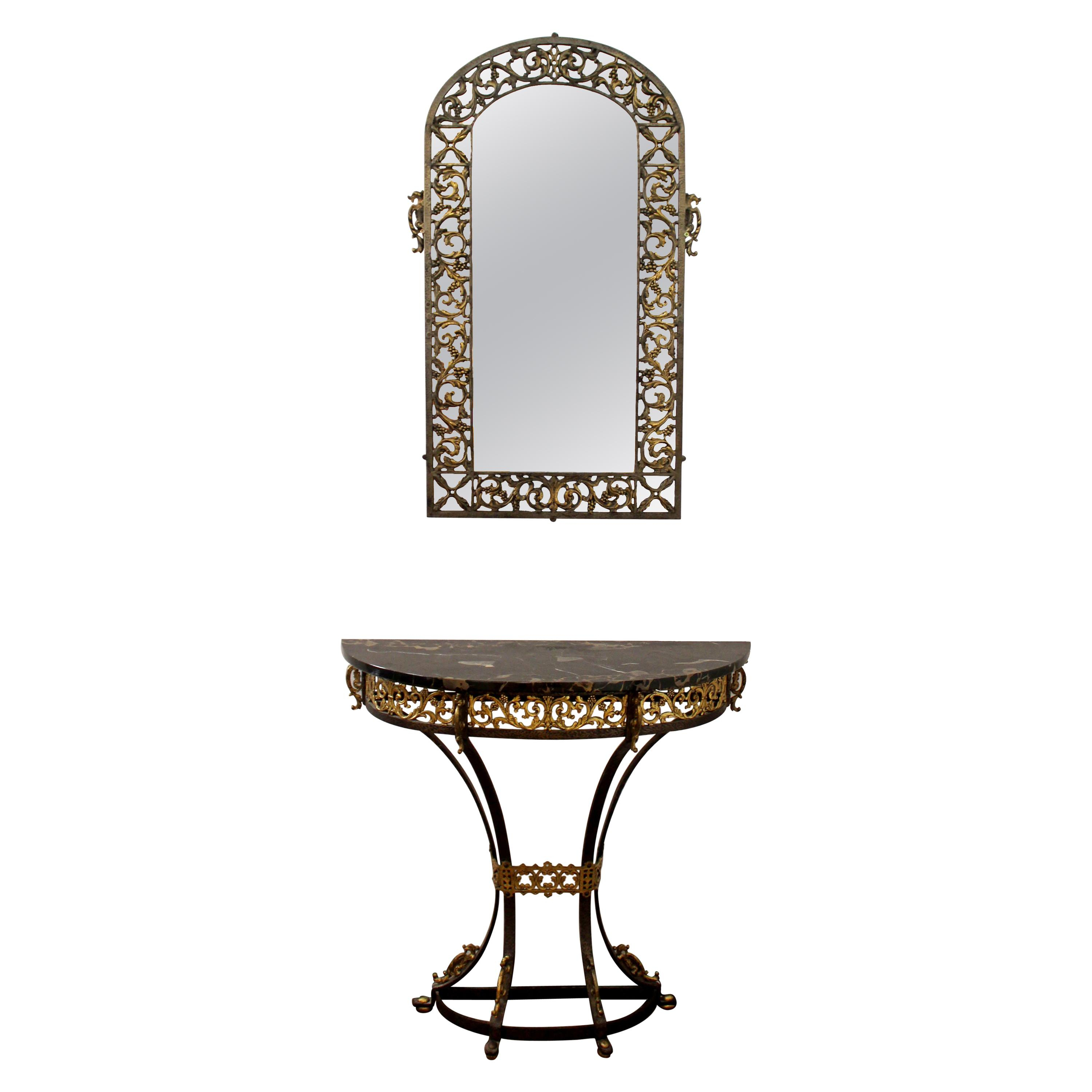 Marble And Bronzed Cast-Iron Console Table With Mirroroscar Bach with Oscar 60 Inch Console Tables (Image 22 of 30)