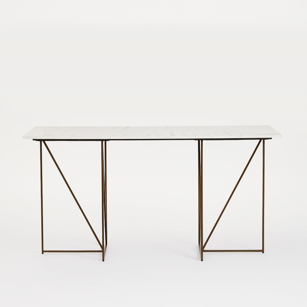 Marble + Brass Geo Desk | Furnish + Fill | Pinterest | Geo, Marbles intended for Parsons Grey Marble Top & Brass Base 48X16 Console Tables (Image 13 of 30)