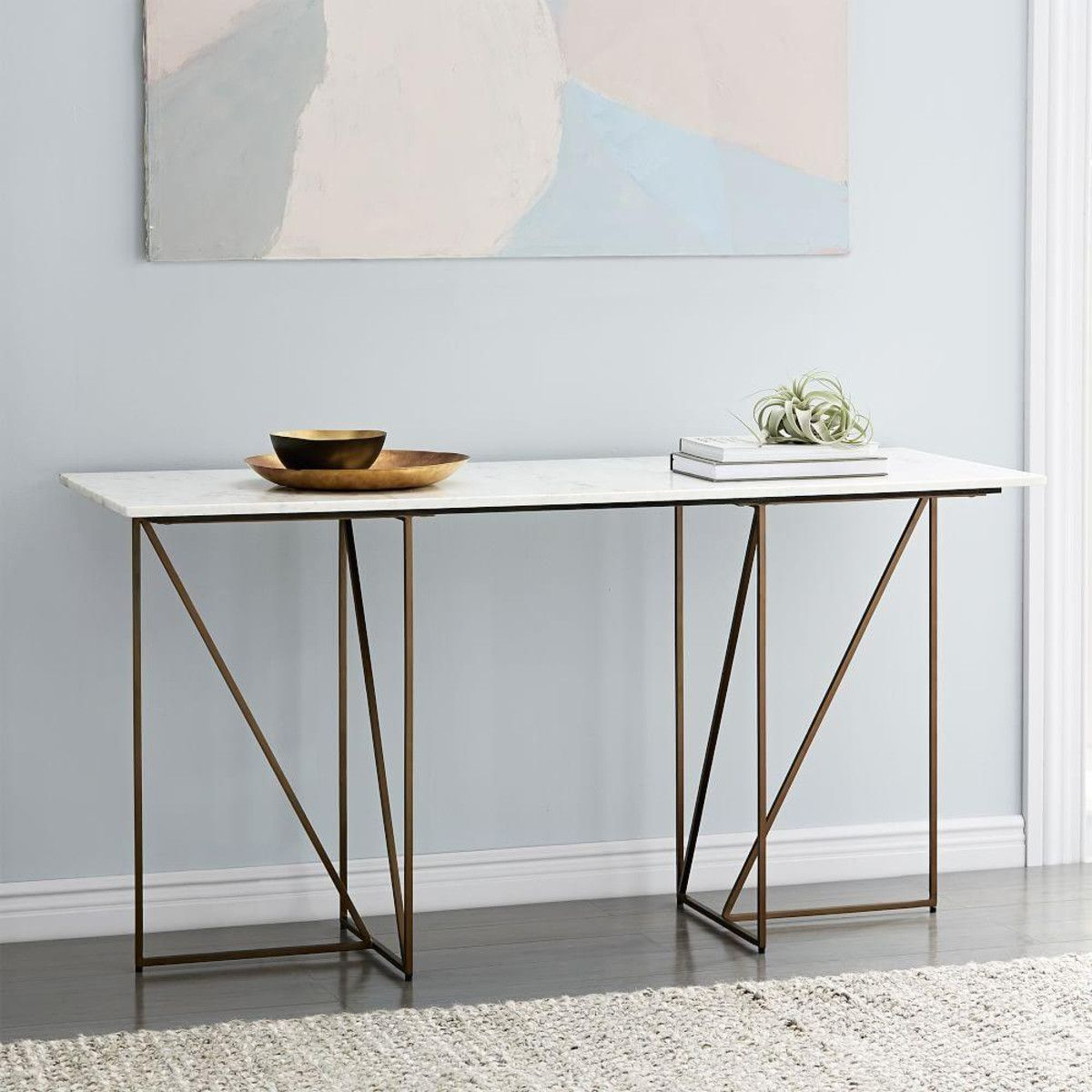 Marble + Brass Geo Desk | West Elm Uk | Console Tables & Sideboard in Mix Agate Metal Frame Console Tables (Image 19 of 30)