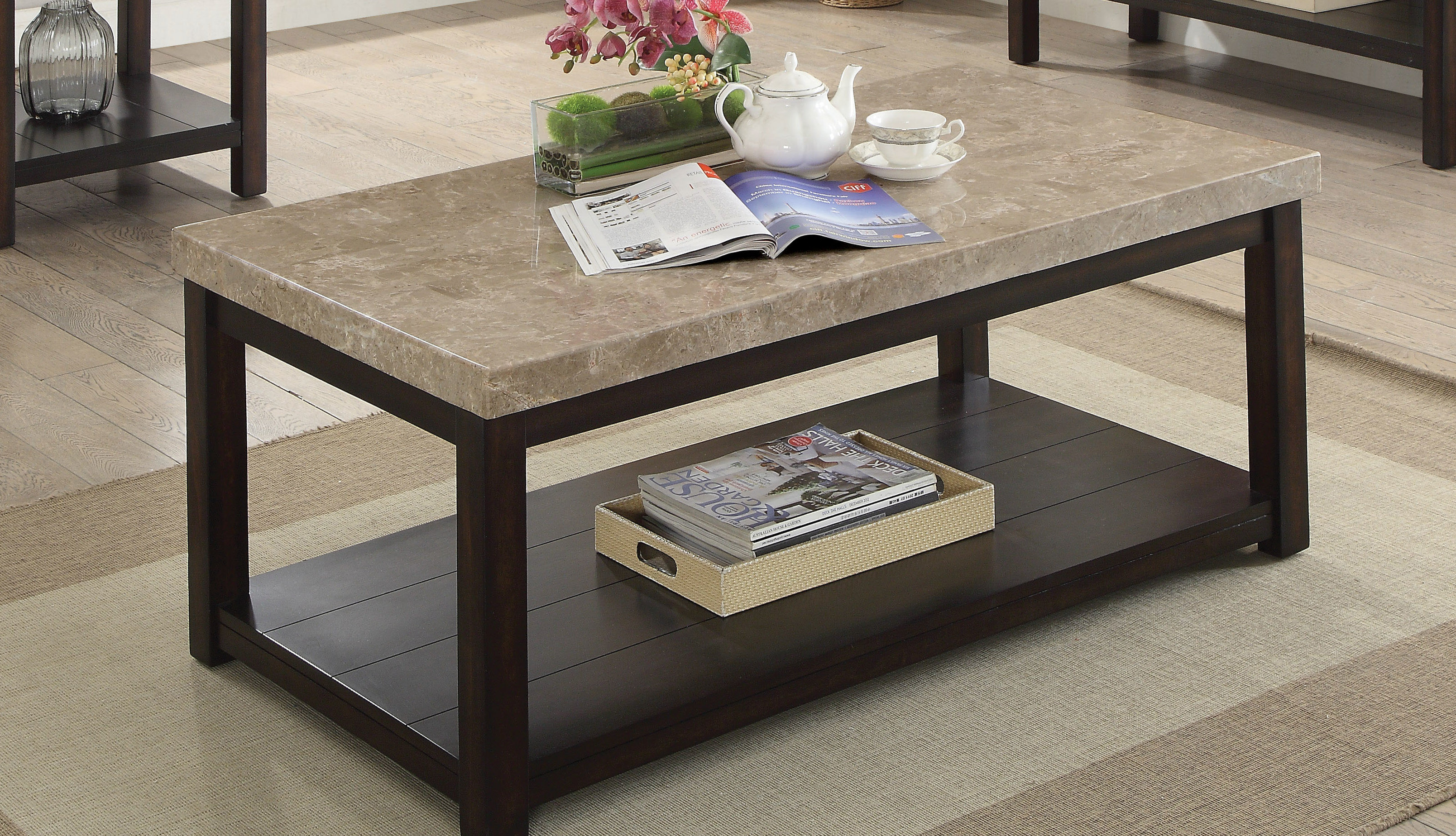 Marble/granite Top Coffee Tables You'll Love | Wayfair Pertaining To Elke Glass Console Tables With Polished Aluminum Base (View 22 of 30)