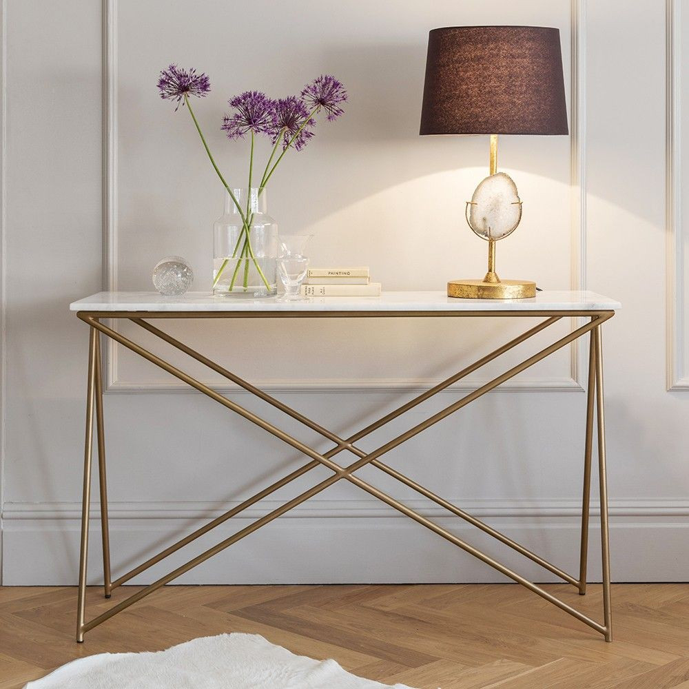 Marble Top Sofa Table - Sofa Ideas with Parsons Travertine Top & Brass Base 48X16 Console Tables (Image 16 of 30)