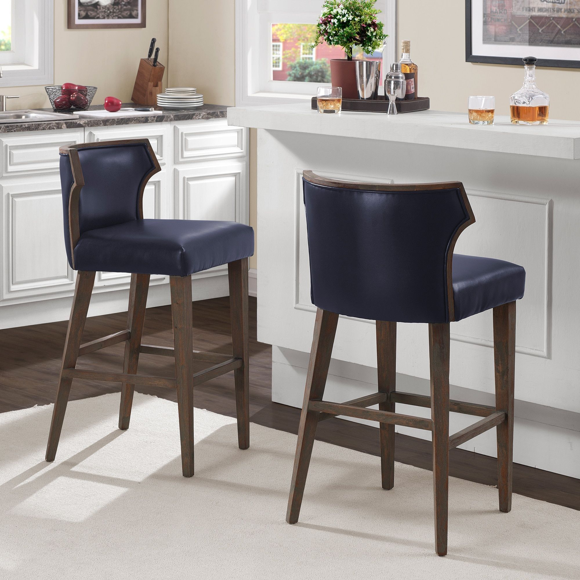 Marvin Navy Bonded Bar Stool, Blue (Bonded Leather) | Products | Bar with Marvin Rustic Natural 60 Inch Tv Stands (Image 19 of 30)