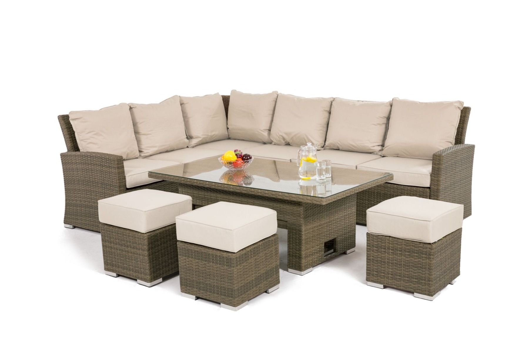 Maze Rattan - Tuscany - Kingston Corner Dining Set With Rising Table pertaining to Natural Cane Media Console Tables (Image 15 of 30)