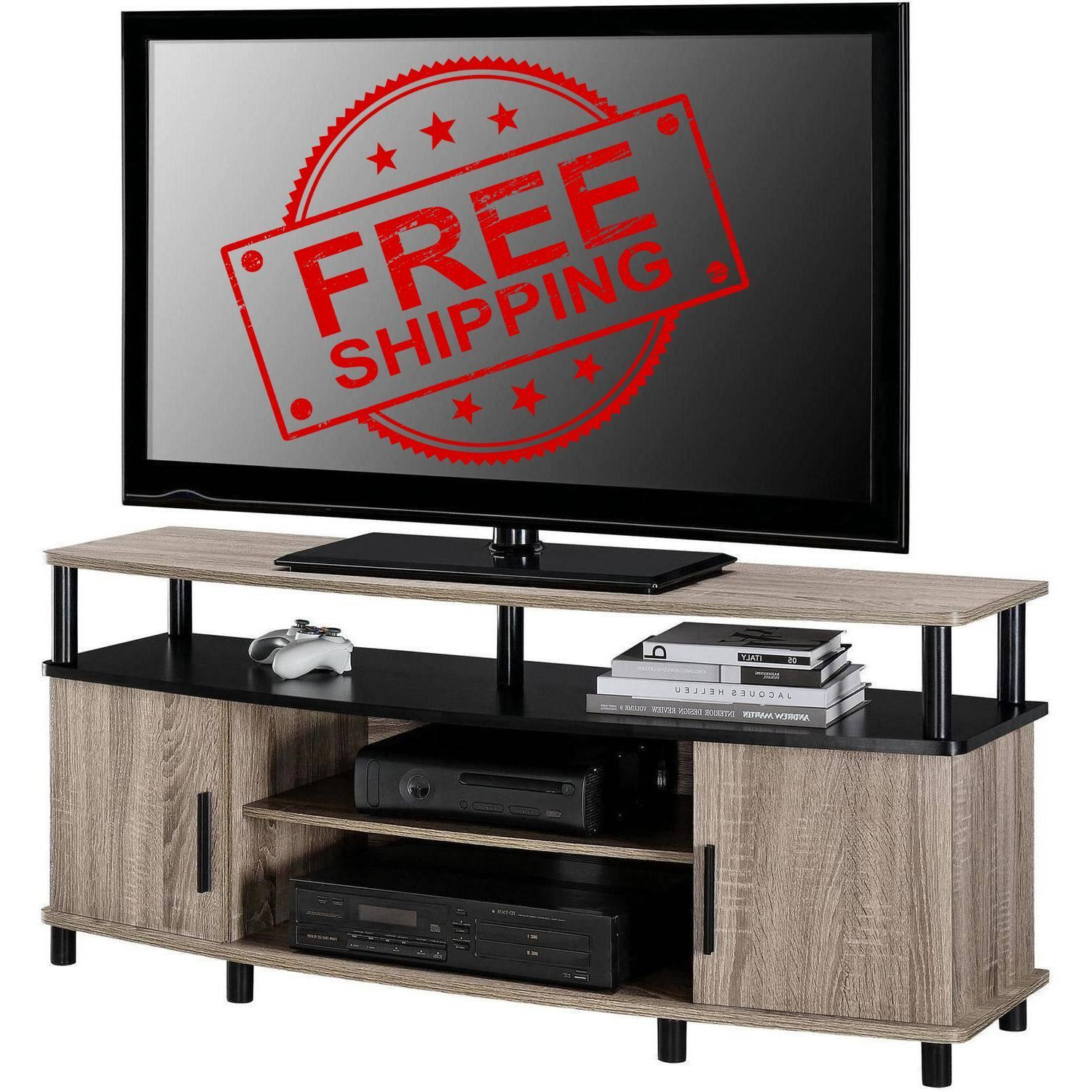 Media Entertainment Center Tv Stand Flat Screen Wood Console Table for Ventana Display Console Tables (Image 21 of 30)