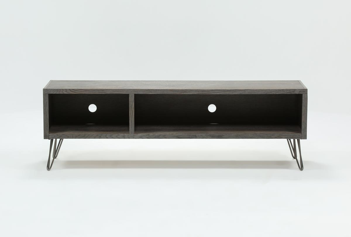 Melrose Titanium 65 Inch Lowboy Tv Stand | Living Spaces Regarding Walton Grey 72 Inch Tv Stands (View 12 of 30)