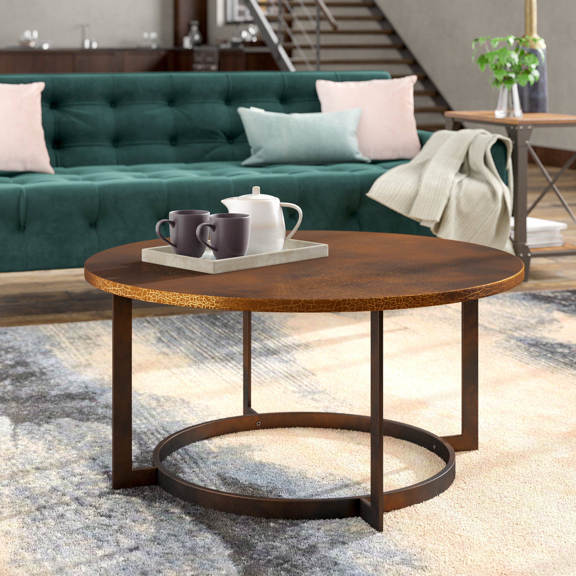 Metal Coffee Tables You'll Love | Wayfair In Mix Leather Imprint Metal Frame Console Tables (View 10 of 30)