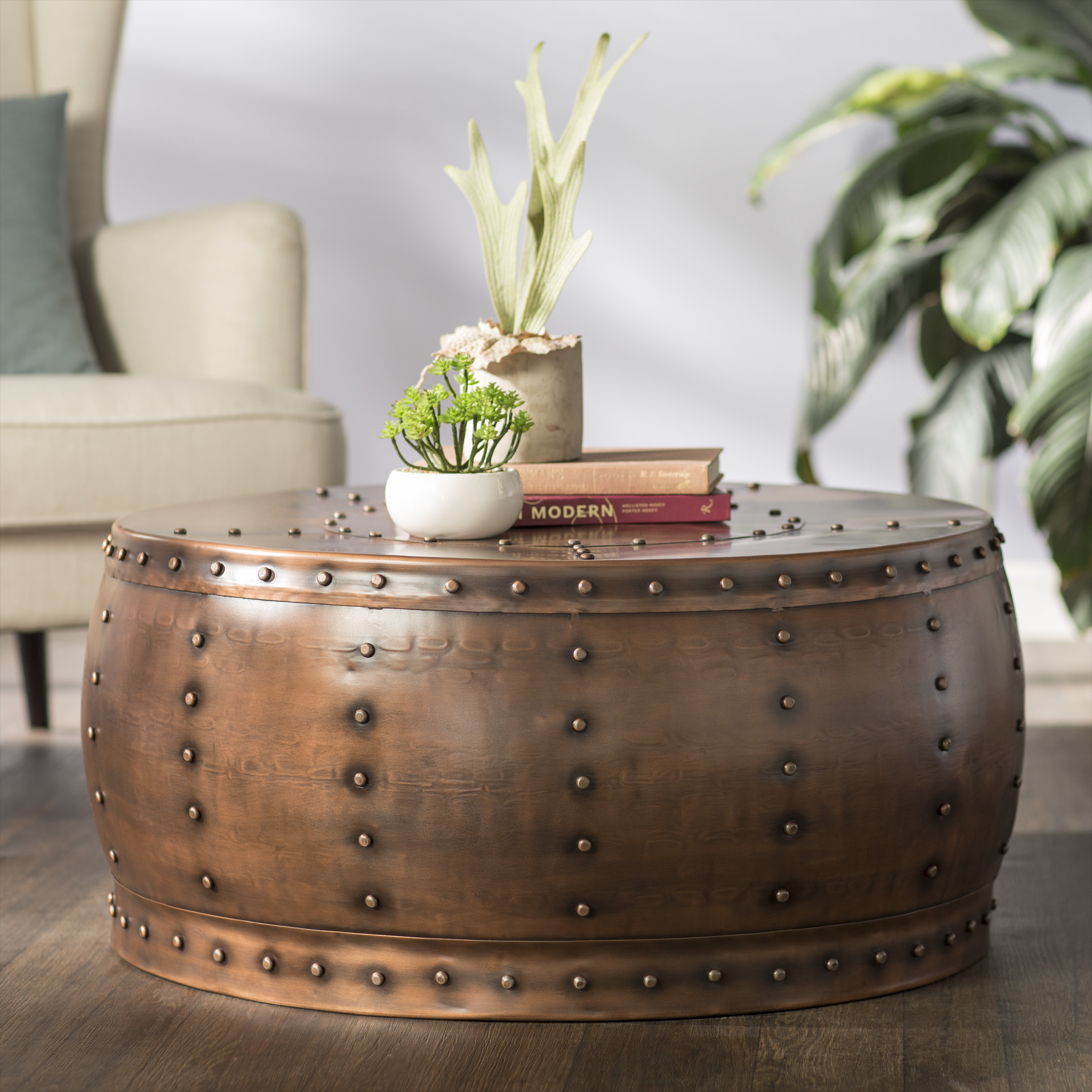 Metal Coffee Tables You'll Love | Wayfair regarding Mix Leather Imprint Metal Frame Console Tables (Image 17 of 30)