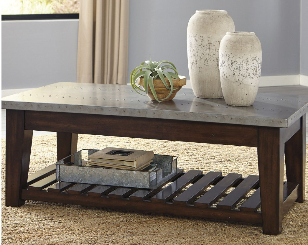 Metal Coffee Tables You'll Love | Wayfair regarding Mix Leather Imprint Metal Frame Console Tables (Image 16 of 30)