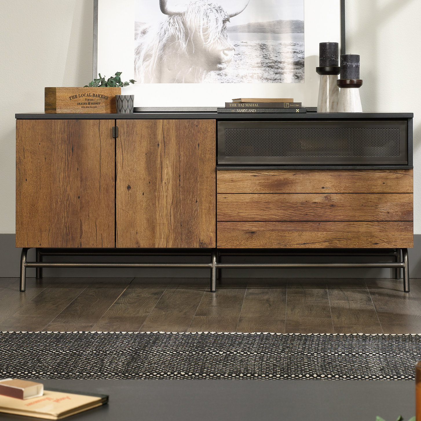 Metal Tv Stands You'll Love | Wayfair With Regard To Gunmetal Perforated Brass Media Console Tables (View 23 of 30)