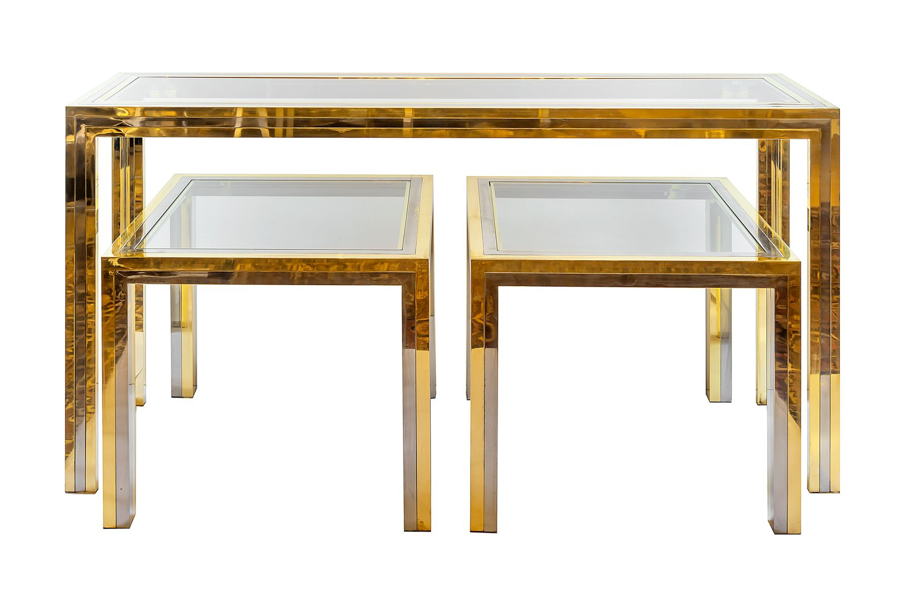 Mid Century Italian Brass & Chrome Console & 2 Side Tables, 1960s In Era Limestone Console Tables (View 11 of 30)