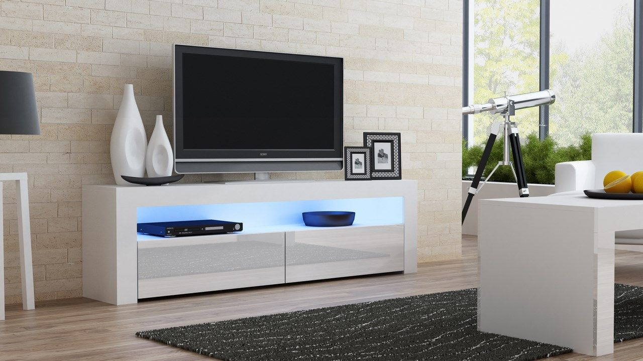 Milano 157 Classic – White Gloss Tv Stand | Tv Stands / Tv Cabinet For Dixon White 65 Inch Tv Stands (View 4 of 30)