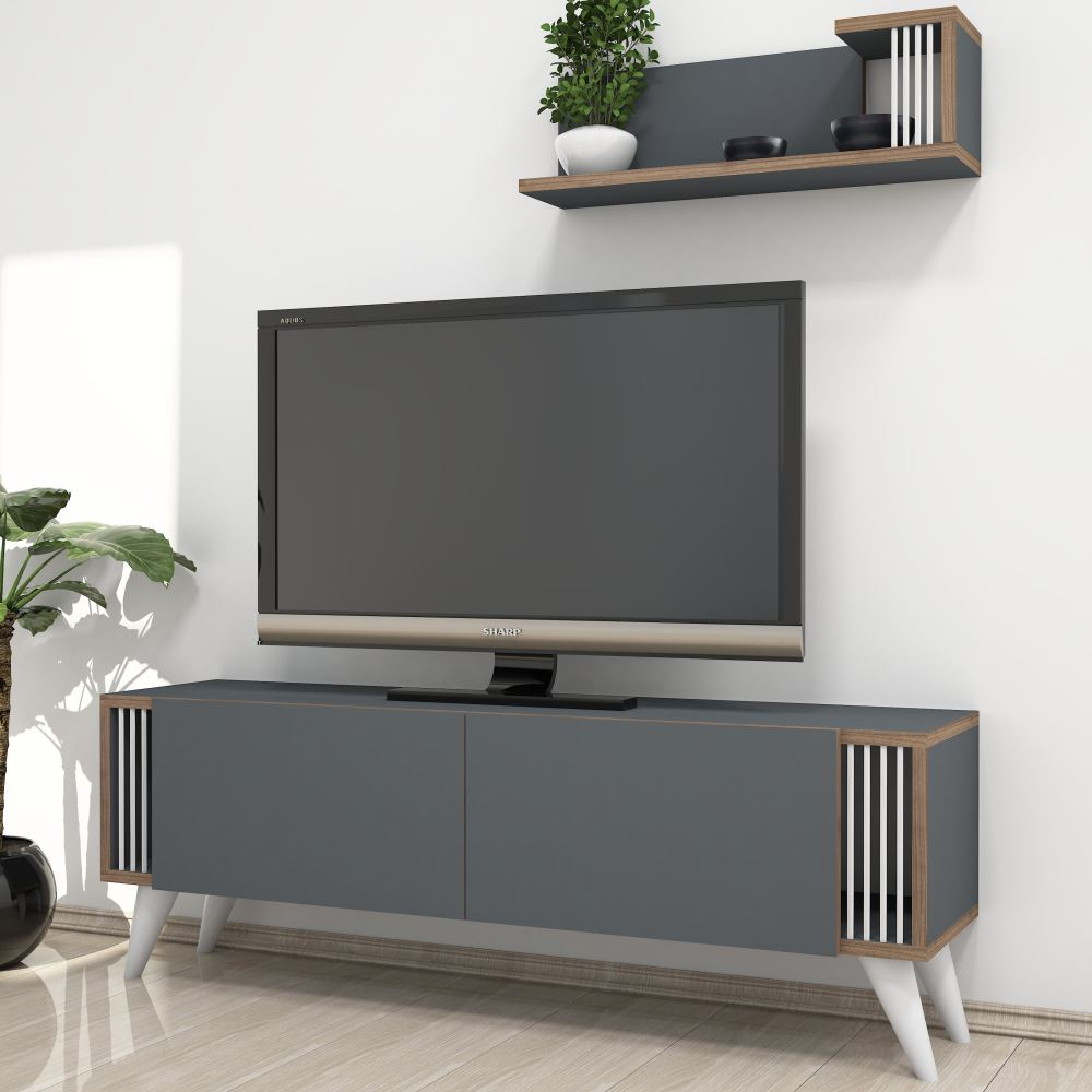 Minar Negro Tv Ünitesi Antrasit | Tekzen Throughout Cato 60 Inch Tv Stands (View 9 of 30)