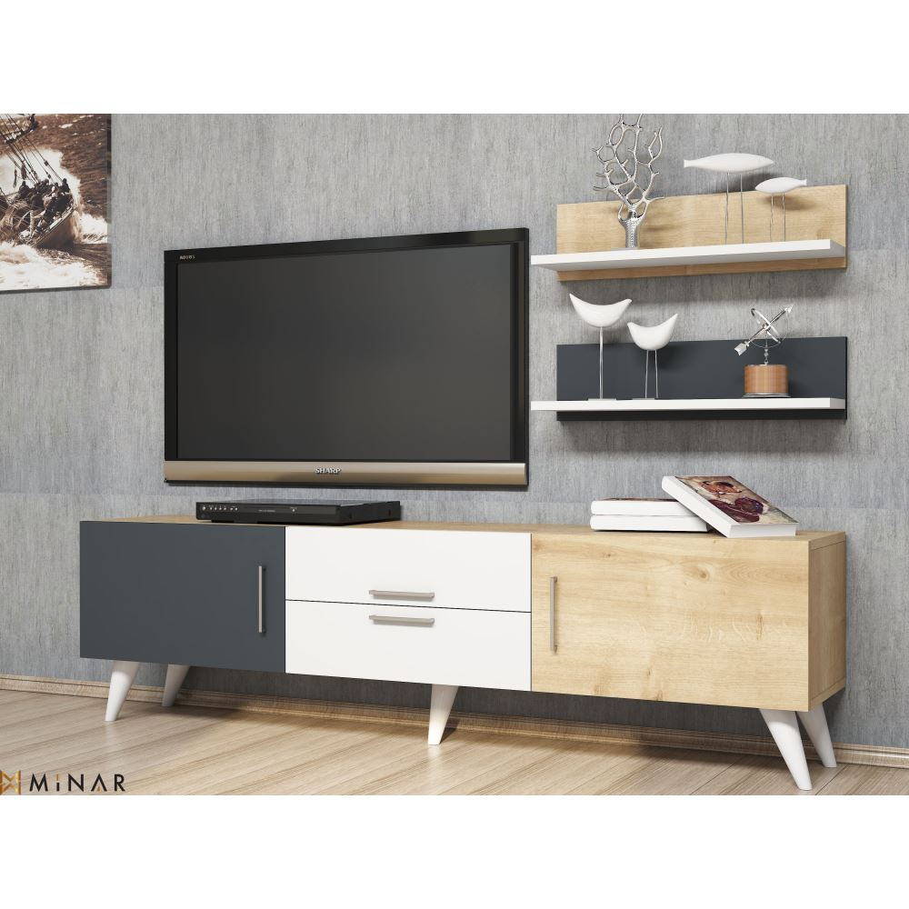 Minar Only Tv Ünitesi-Beyaz-Safir-Antrasit | Tekzen regarding Cato 60 Inch Tv Stands (Image 21 of 30)