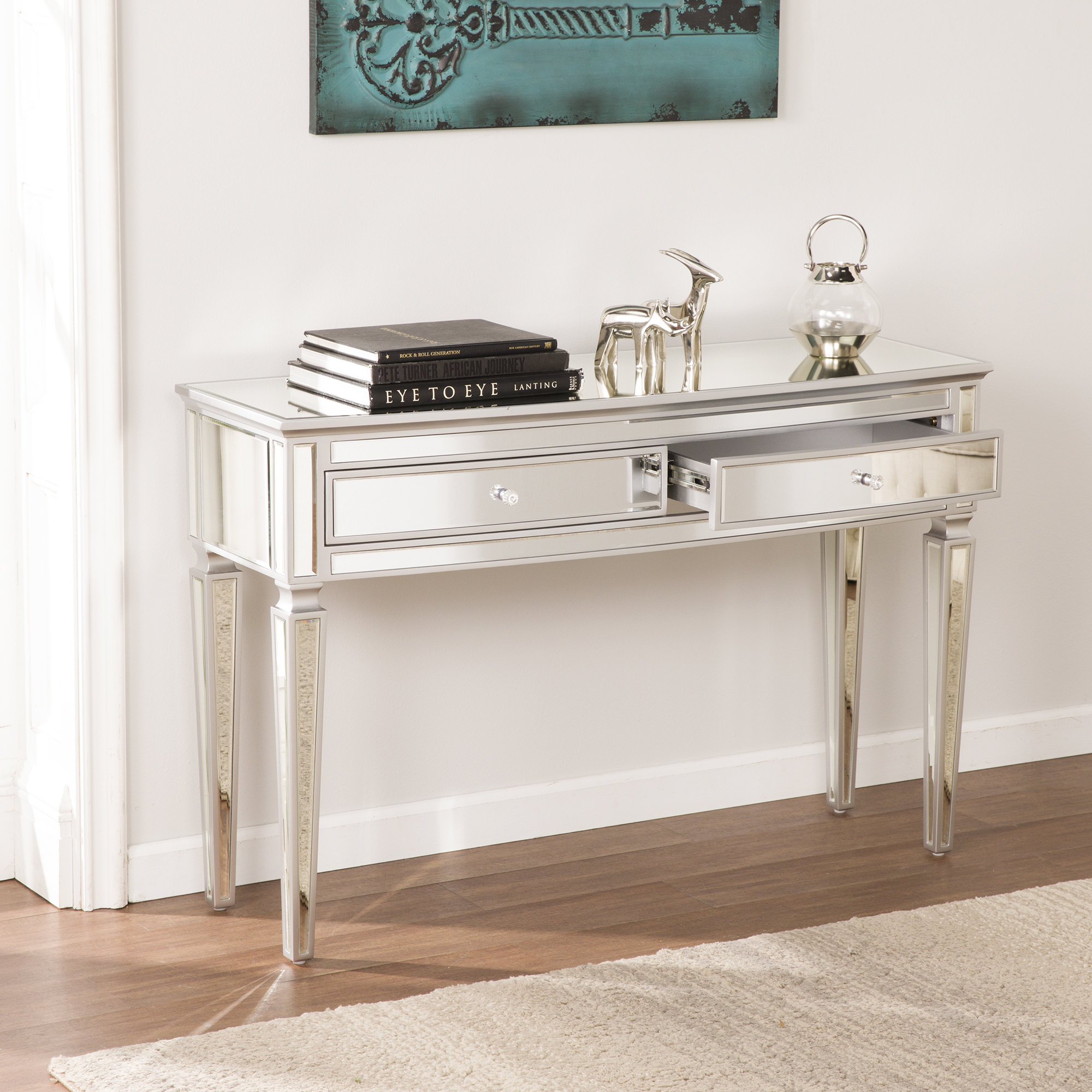 Mirrored Console Tables You'll Love | Wayfair for Natural Wood Mirrored Media Console Tables (Image 16 of 30)