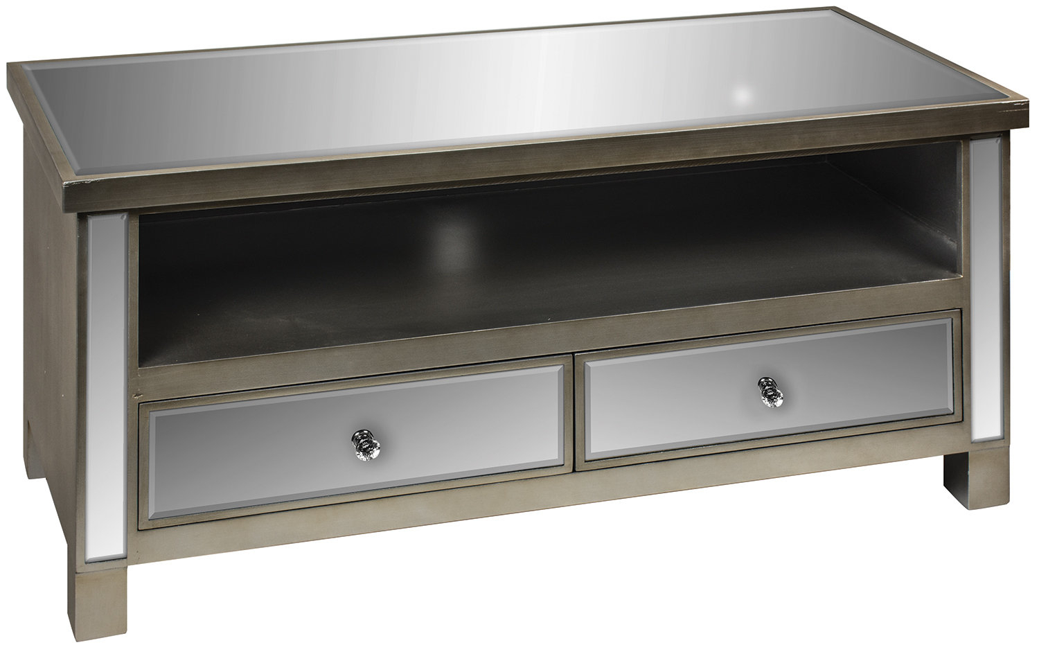 Mirrored Tv Stand | Wayfair.co.uk inside Natural Wood Mirrored Media Console Tables (Image 17 of 30)