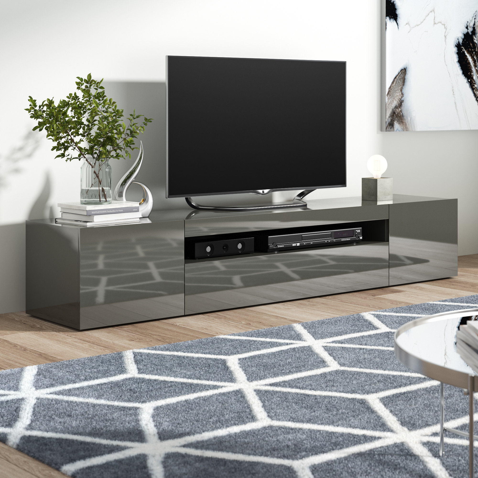 Mirrored Tv Stand | Wayfair.co.uk within Natural Wood Mirrored Media Console Tables (Image 18 of 30)