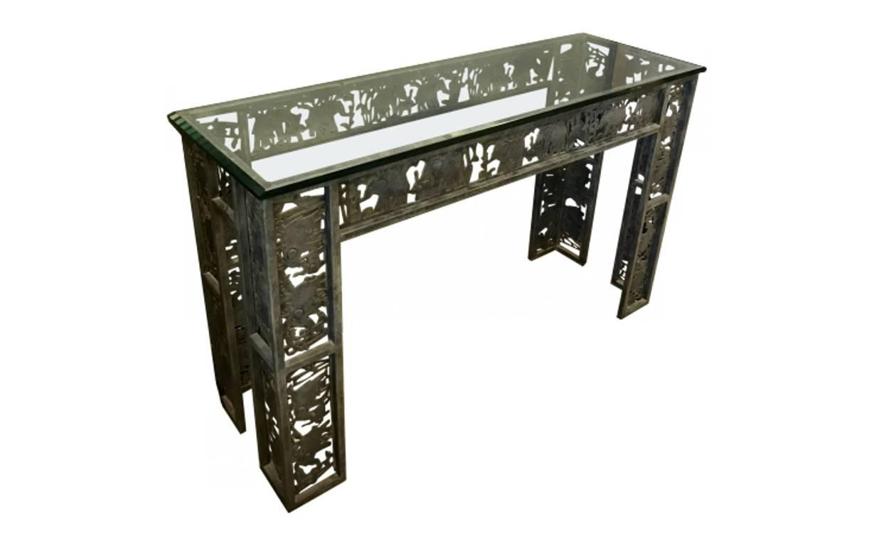Mixed Metal Console And Mirror For Sale At 1Stdibs with regard to Mix Patina Metal Frame Console Tables (Image 19 of 30)
