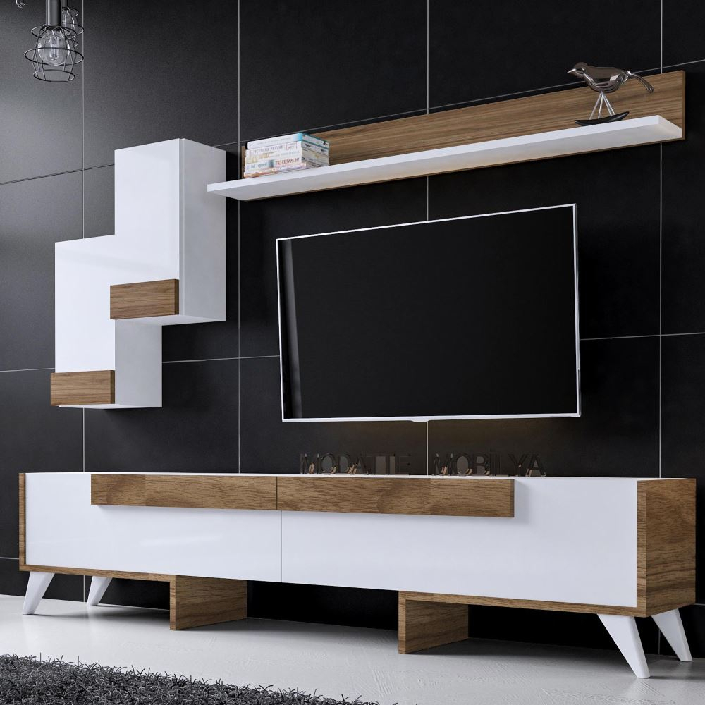 Modatte Marta Beyaz Ceviz Tv Ünitesi | Tekzen in Cato 60 Inch Tv Stands (Image 22 of 30)
