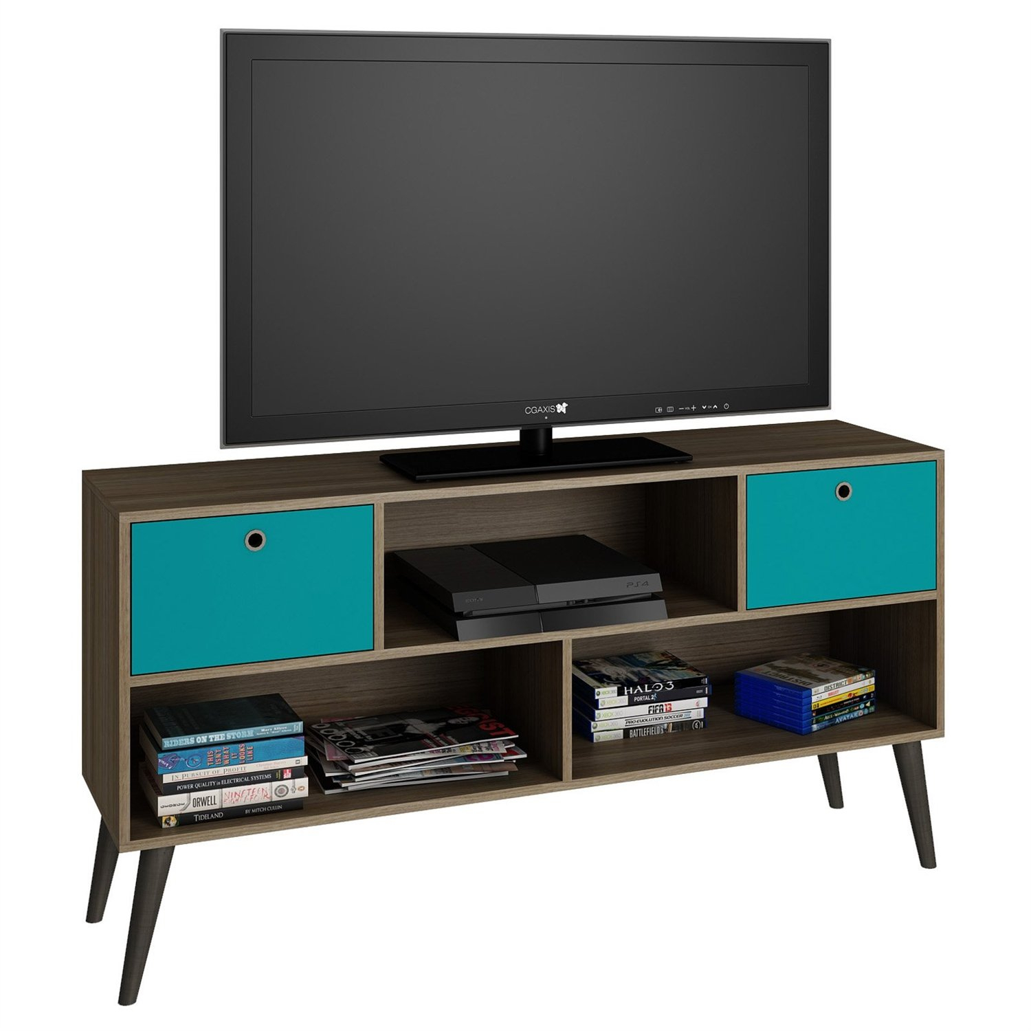 Modern Classic Mid Century Tv Stand Entertainment Center In Oak Aqua With Regard To Century White 60 Inch Tv Stands (View 23 of 30)