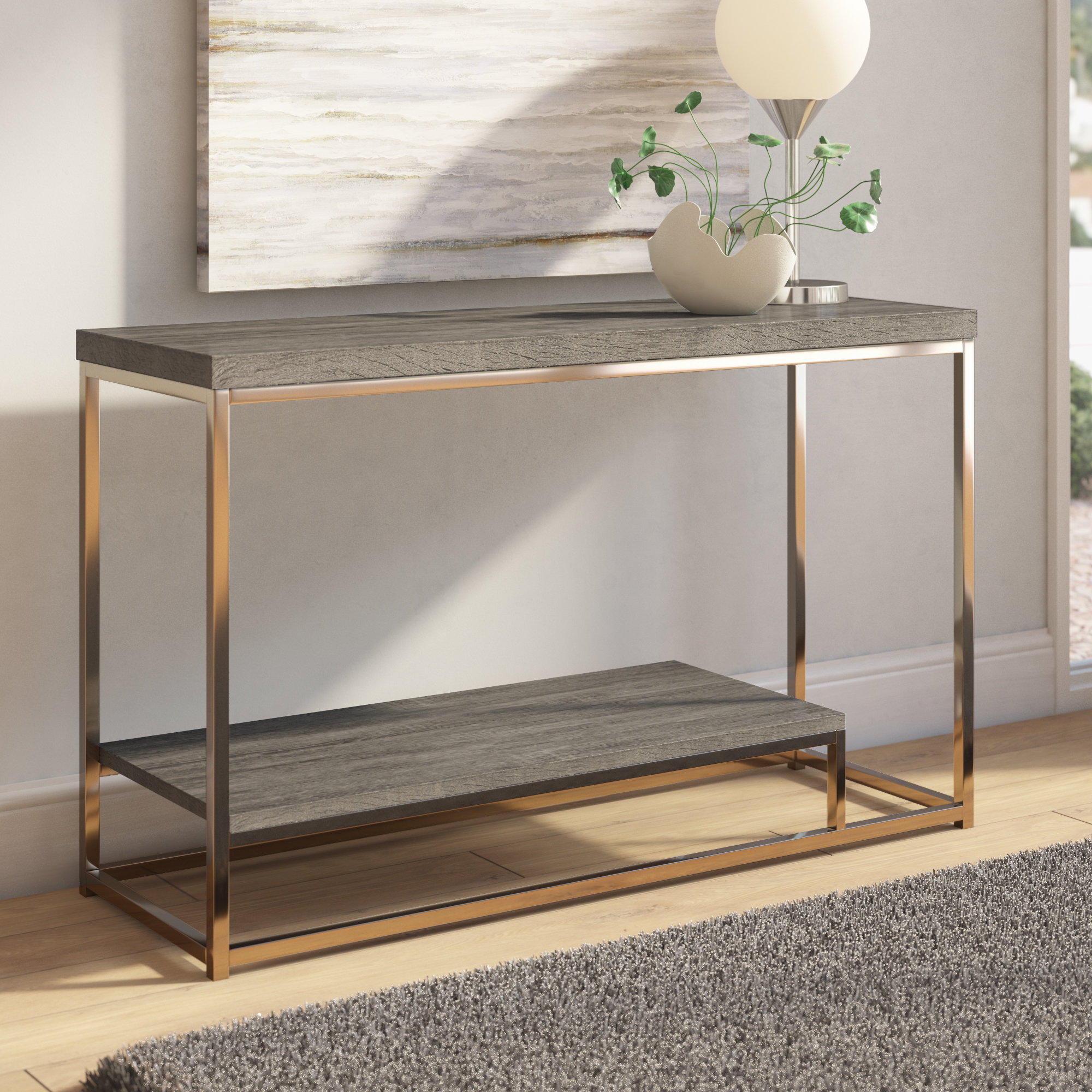 Modern & Contemporary Console Tables You'll Love | Wayfair regarding Natural Wood Mirrored Media Console Tables (Image 19 of 30)