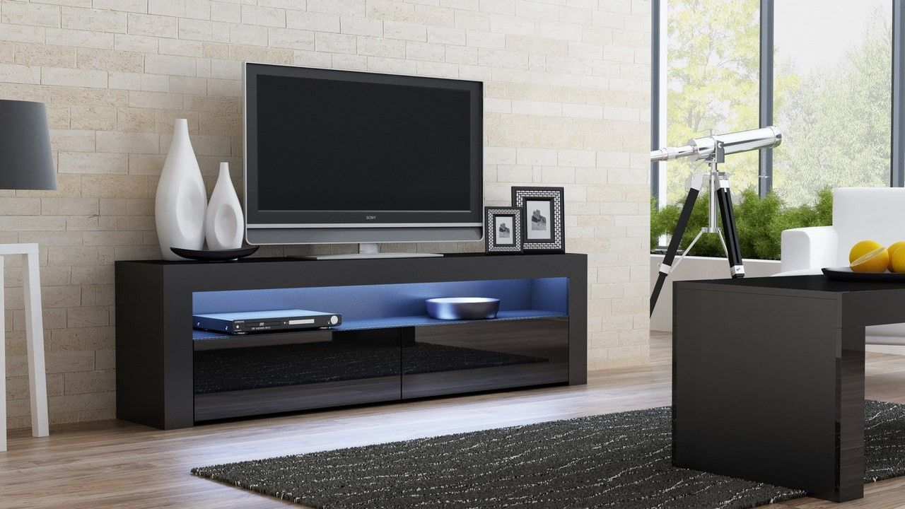 Modern Design Furniture Milano 157 Black Finish Modern And Unique in Marvin Rustic Natural 60 Inch Tv Stands (Image 21 of 30)