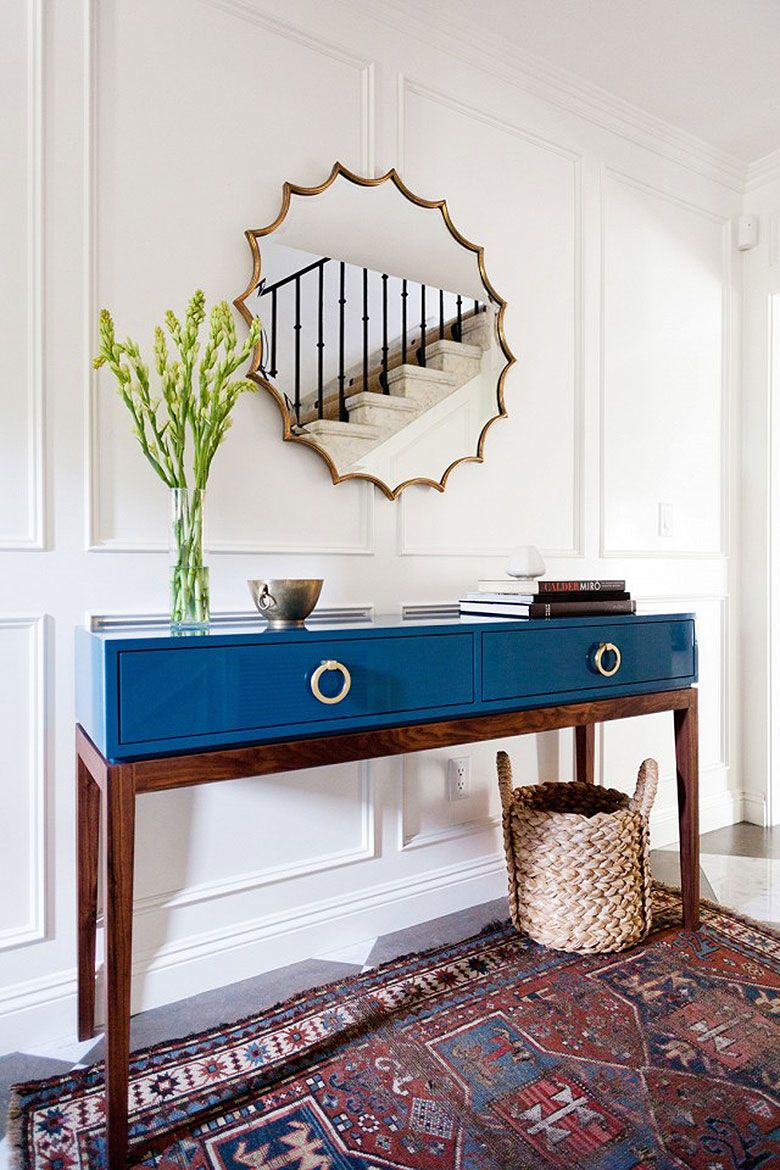 Modern Entry With Mid-Century Style Table In Blue Lacquer Finish inside Natural Wood Mirrored Media Console Tables (Image 21 of 30)