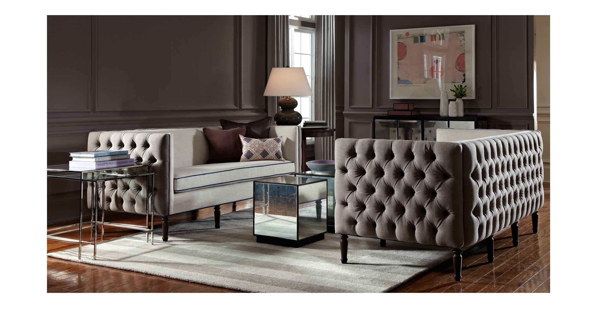 Modern Tufted Sofa - Google Search | Turn Of The Century Moderne with regard to Parsons Travertine Top & Dark Steel Base 48X16 Console Tables (Image 16 of 30)