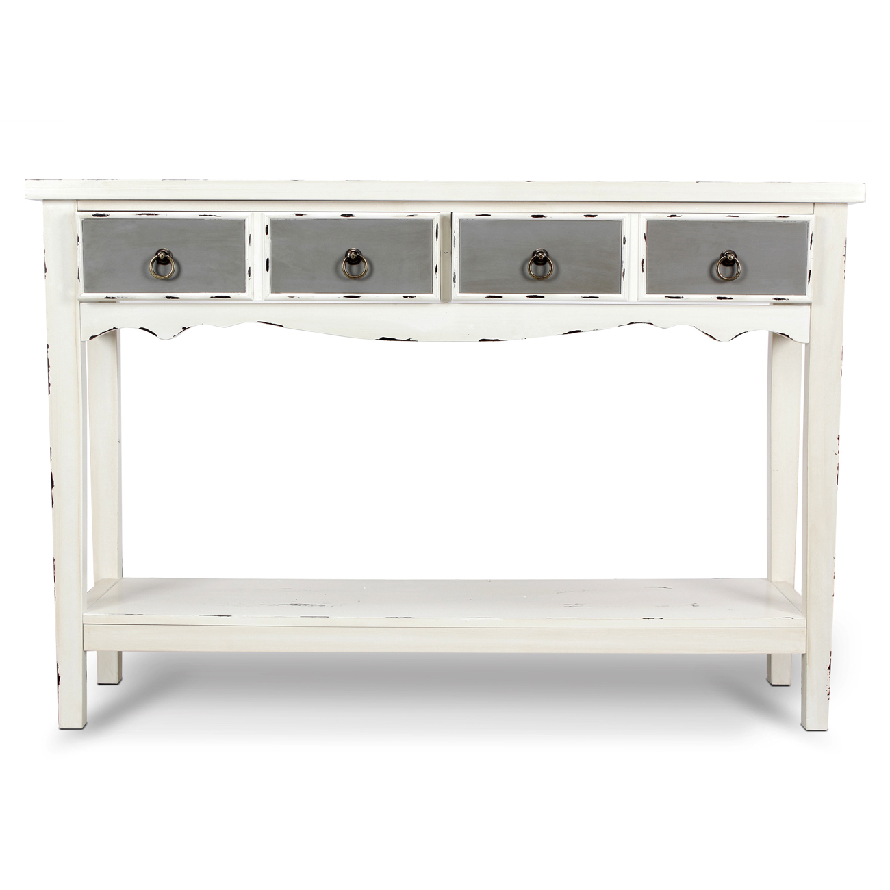 Modern Two Tone - Two Drawer Distressed Console Entryway Table pertaining to Antique White Distressed Console Tables (Image 19 of 30)