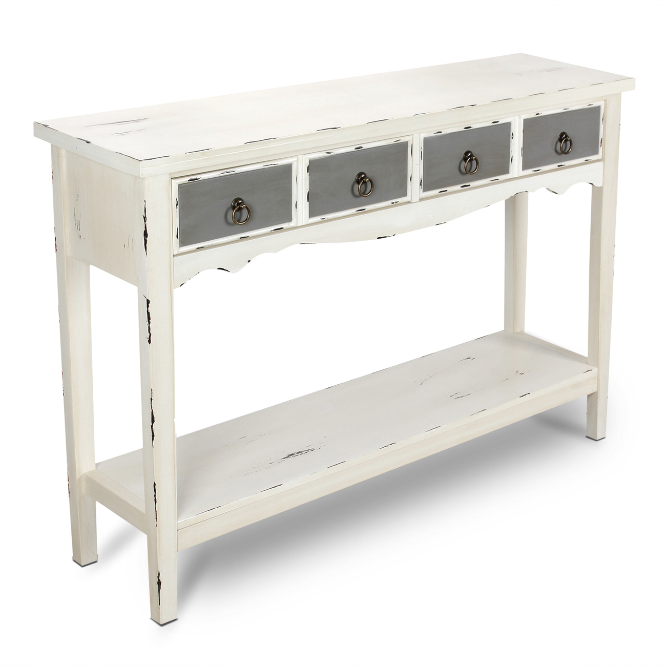 Modern Two Tone - Two Drawer Distressed Console Entryway Table regarding Antique White Distressed Console Tables (Image 20 of 30)