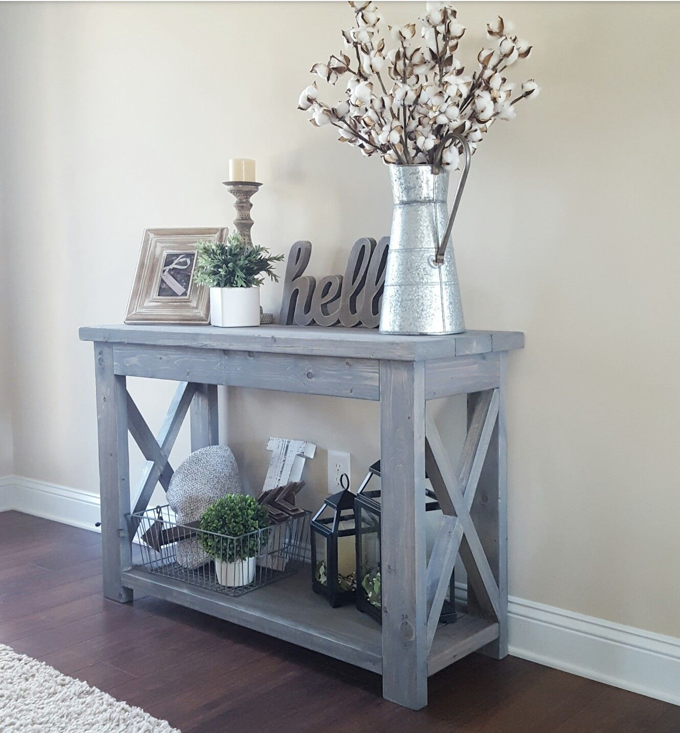 Modified Ana White's Rustic X Console Table, And Used Minwax Classic In Bale Rustic Grey 82 Inch Tv Stands (View 15 of 30)