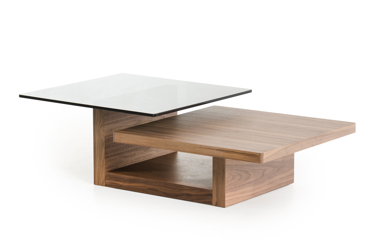Modrest Echelon Mid Century Walnut And Smoked Glass Coffee Table Pertaining To Echelon Console Tables (View 14 of 30)