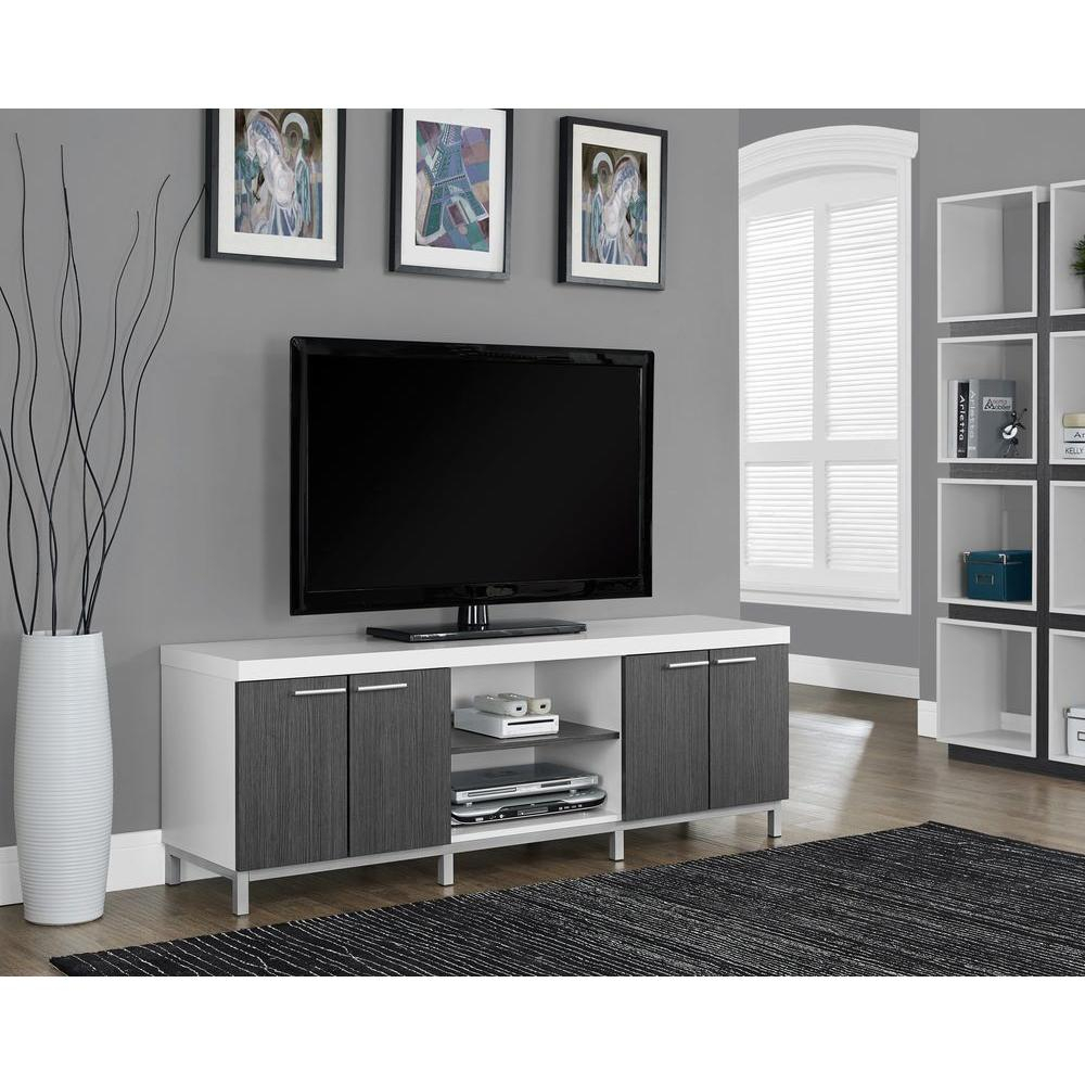 Monarch Specialties Hollow Core White And Grey Storage Entertainment In Century Blue 60 Inch Tv Stands (View 11 of 30)