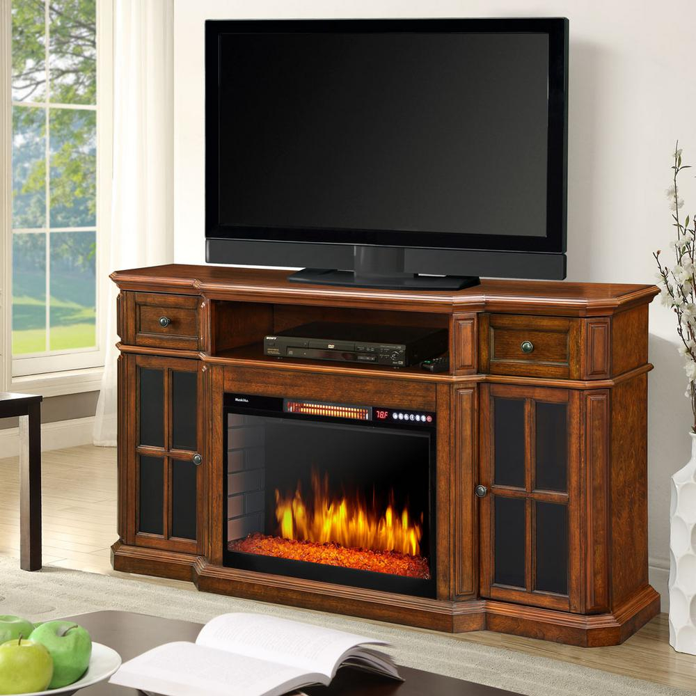 Muskoka Sinclair 60 In. Bluetooth Media Electric Fireplace Tv Stand in Sinclair Blue 74 Inch Tv Stands (Image 16 of 30)