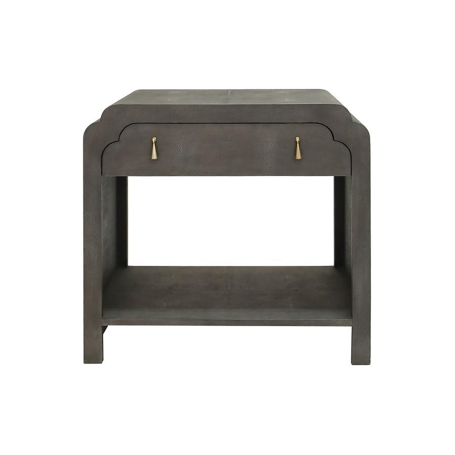 Nancy Dark Grey Faux Shagreen Side Table Inside Grey Shagreen Media Console Tables (Photo 6 of 30)