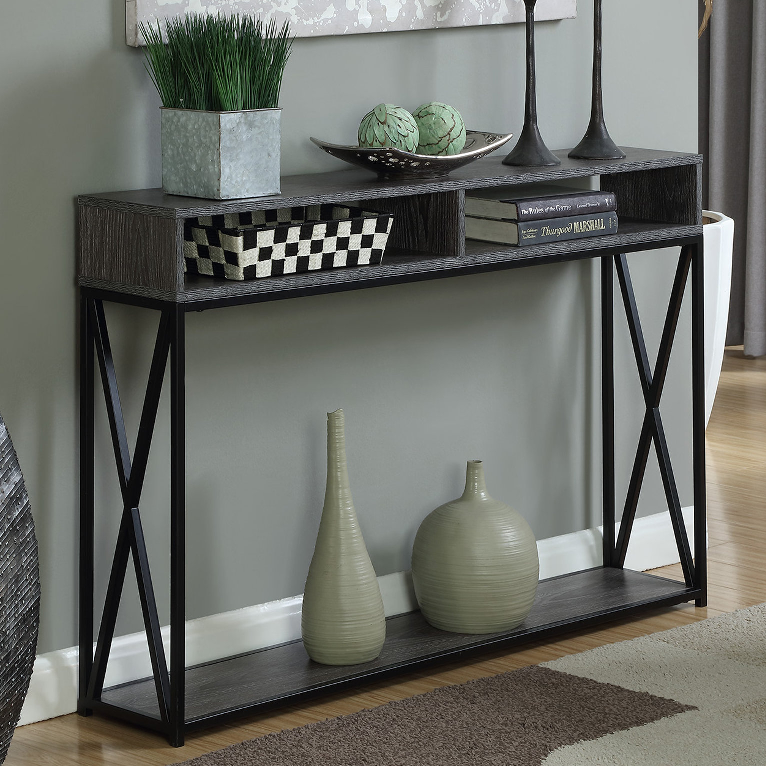 Narrow Console Tables You'll Love | Wayfair.ca Inside Mix Patina Metal Frame Console Tables (Photo 9 of 30)