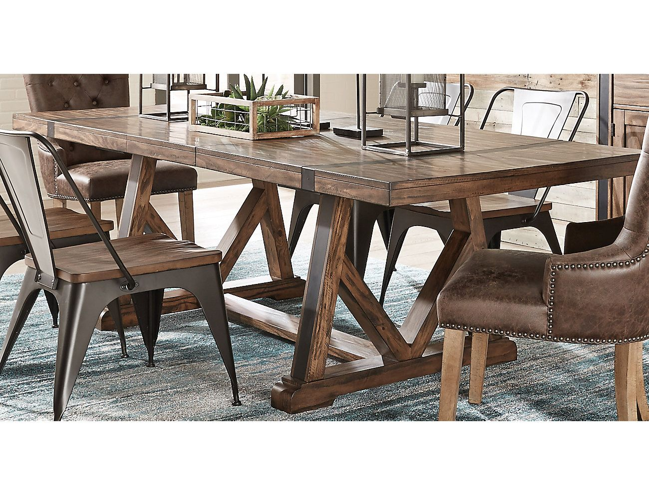 Nelson Trestle Dining Table | Dining Tables | Trestle Dining Tables In Parsons Travertine Top & Brass Base 48X16 Console Tables (Photo 10 of 30)