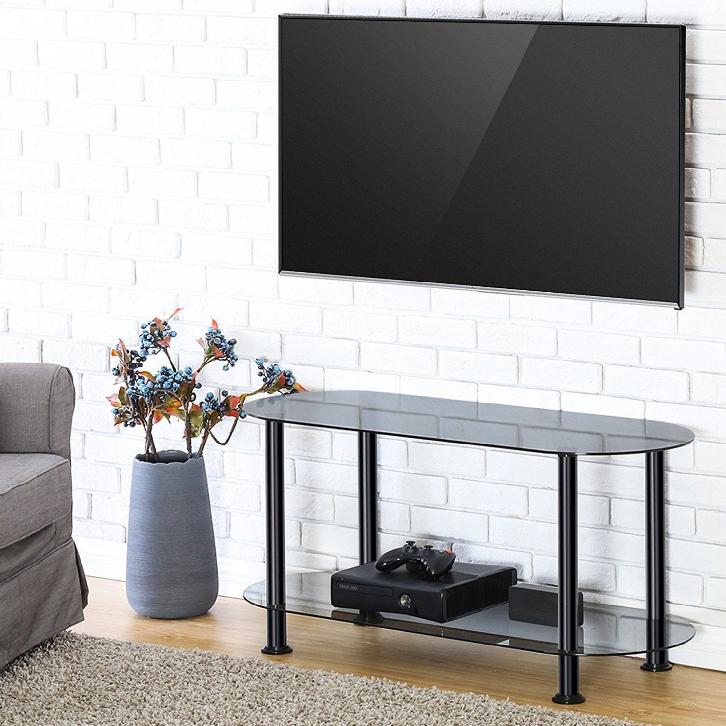 New Classic Grey Tempered Glass Tv Stand Suit For Up To 46 Inch Lcd Regarding Sinclair Grey 74 Inch Tv Stands (Photo 14 of 30)