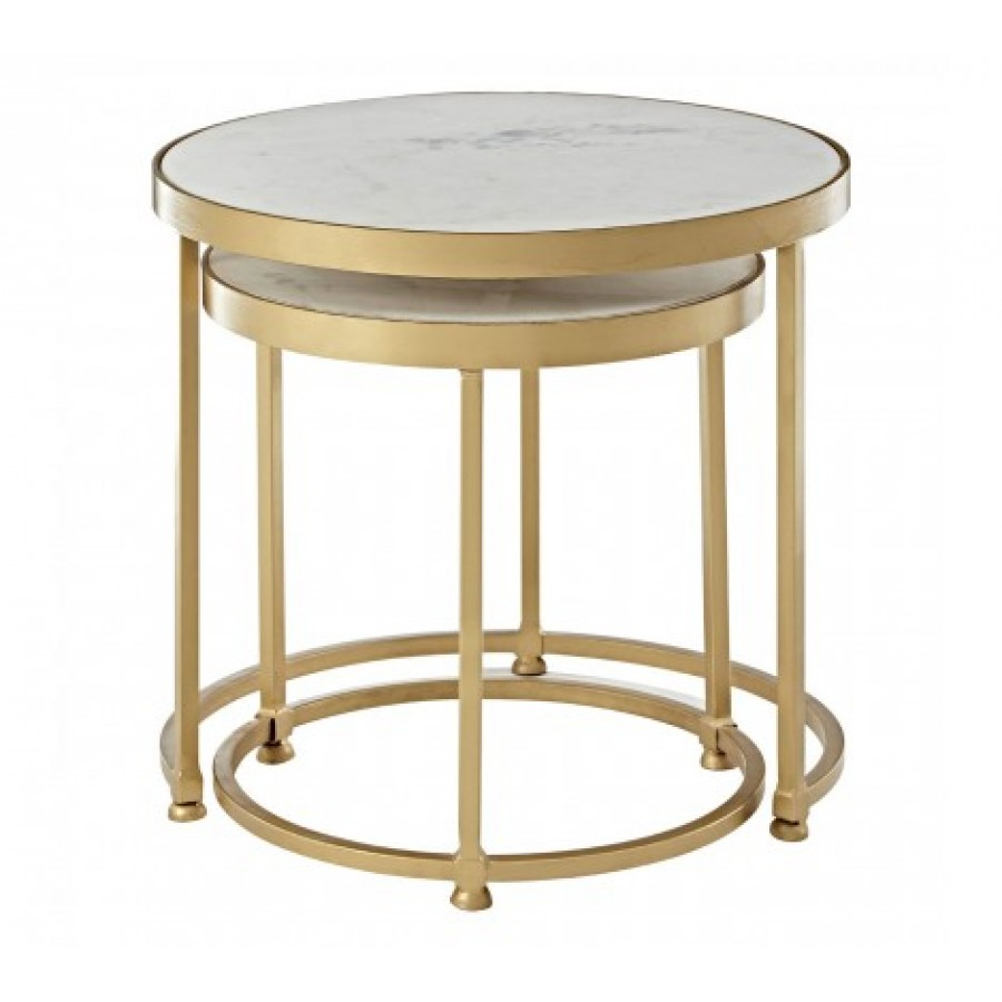 Nirav Nesting Tables Brass With Oak & Brass Stacking Media Console Tables (Photo 24 of 30)