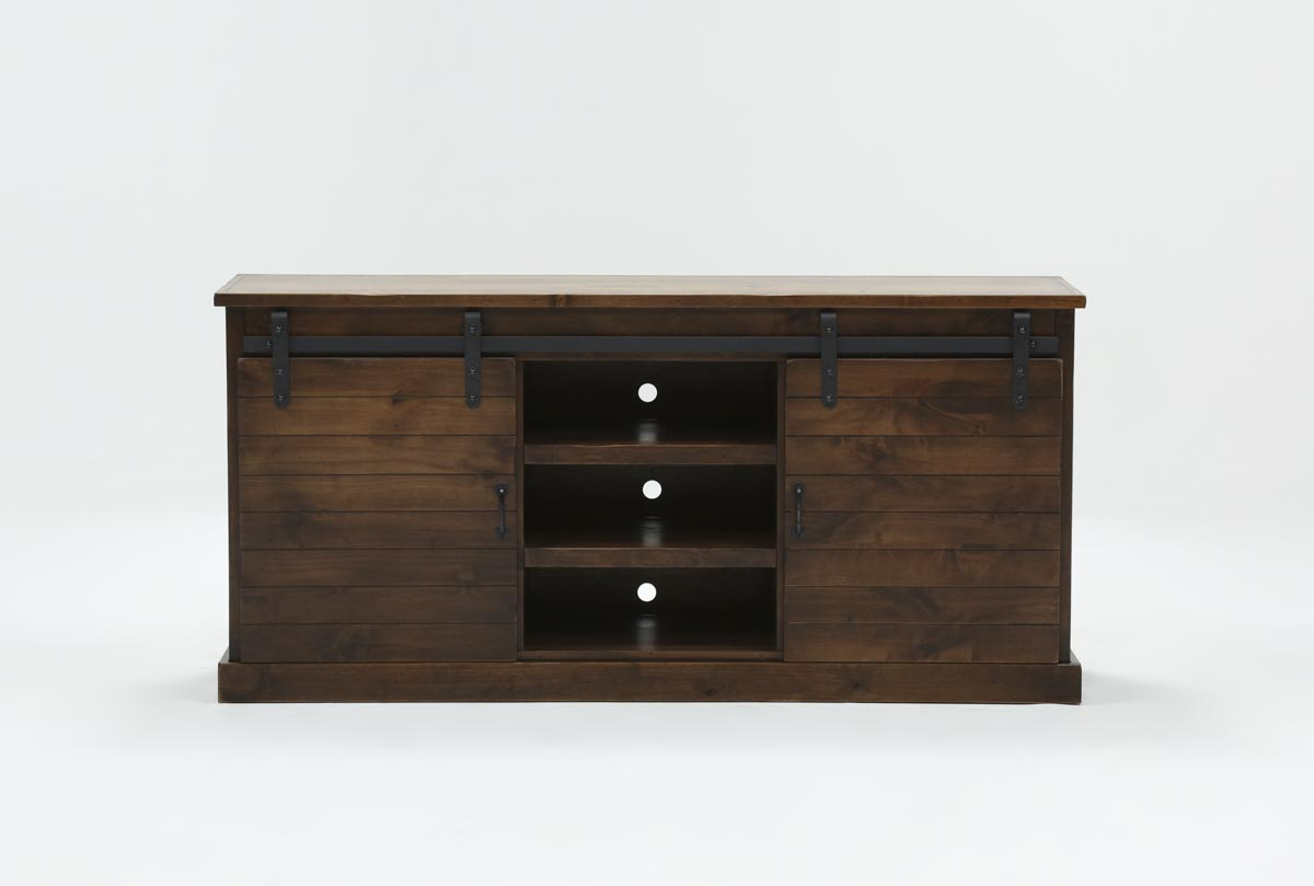 Noah Aged Whiskey 66 Inch Tv Stand | Living Spaces Within Ducar 64 Inch Tv Stands (Photo 2 of 30)