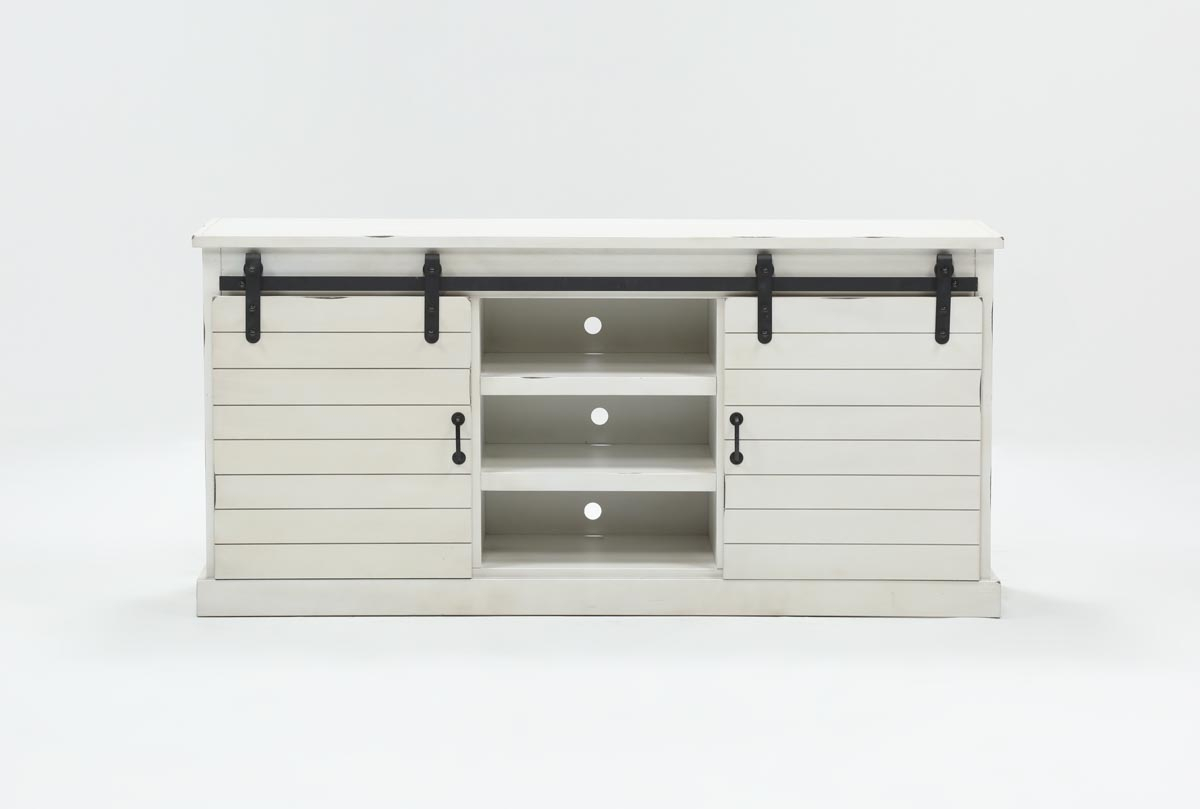 Noah Rustic White 66 Inch Tv Stand | Living Spaces Throughout Noah Aged Whiskey 66 Inch Tv Stands (Photo 2 of 30)