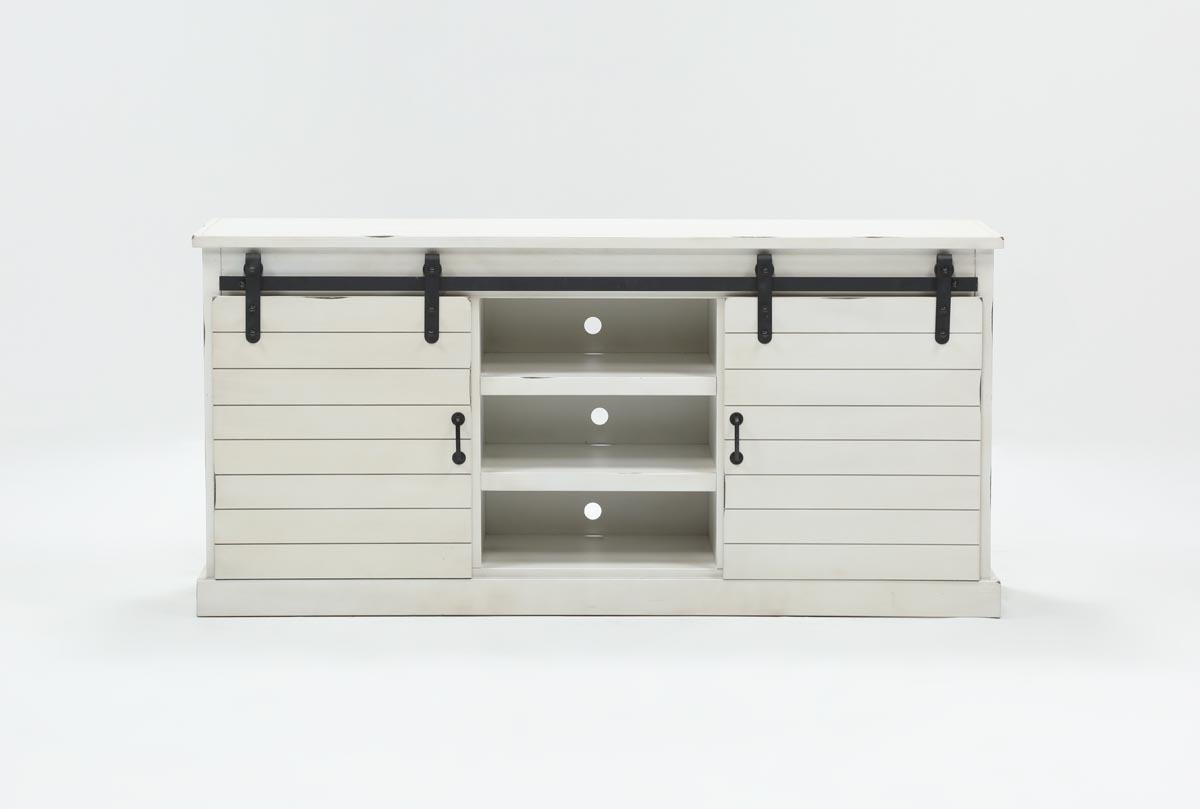 Noah Rustic White 66 Inch Tv Stand | Living Spaces with Sinclair Grey 64 Inch Tv Stands (Image 10 of 30)