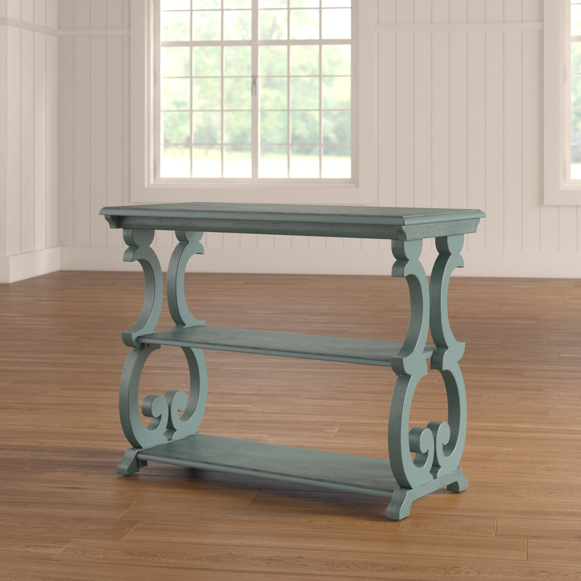 One Allium Way Elige Scroll Console Table & Reviews | Wayfair for Mix Agate Metal Frame Console Tables (Image 24 of 30)